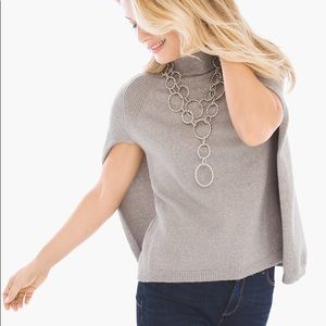 New Chico's Silver Shimmer Sweater Cape Pullover